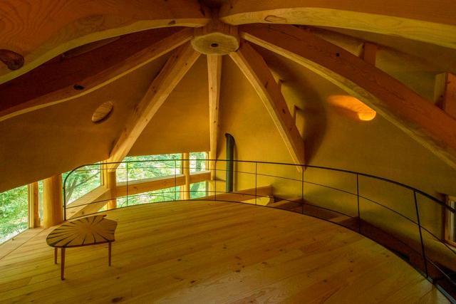 仿夯土墙的木结构蜗壳小屋